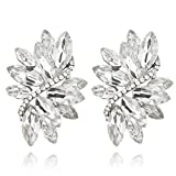 Marquise Leaf Cluster Austrian Crystal Women's Fashion Clip on Earrings in Silver