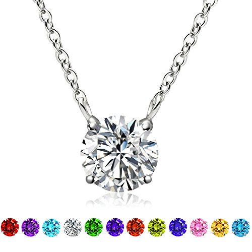 Cat Eye Jewels Simulated Birthstone Necklace Swarovski Elements Crystal S925 Sterling Silver Pendant Necklace April Clear Crystal (N004)