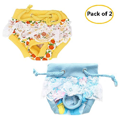 CheeseandU 2Pcs Female Dog Diapers with Lace Decor, Elastic Waist Cotton Sanitary Physiological Shorts Pants for Tiny Small Girl Puppy Panties Underwear, Yellow + Blue (Large-Waist: 12.6Inch/32CM)
