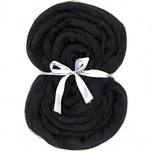 Needle Felting Wool Roving Top - DIY Craft Materials for Loom Weaving Merino Tapestry 2.2Yards (Black-3.5OZ)
