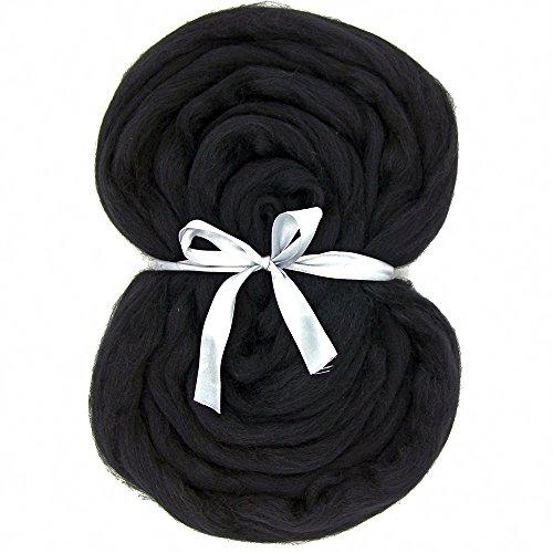 Needle Felting Wool Roving Top DIY Craft Materials 3.5OZ (Black) ()
