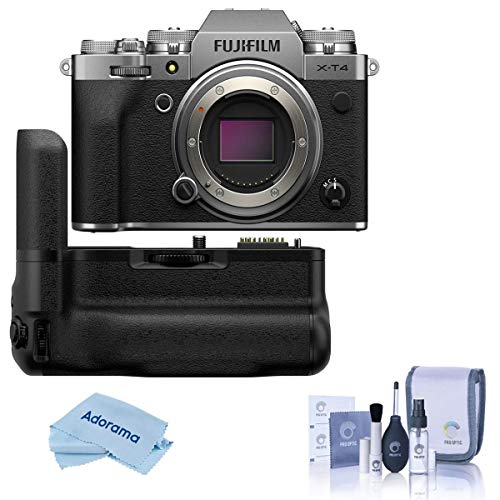 Fujifilm X-T4 Mirrorless Digital Camera Body, Silver Vertical Battery Grip, Cleaning Kit, Microfiber Cloth