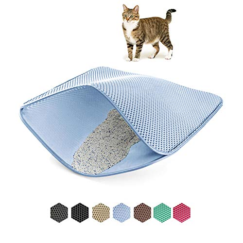 WePet Cat Litter Mat, Kitty Litter Trapping Mat, Honeycomb Double Layer Mats, No Phthalate, Urine Waterproof, Easy Clean…