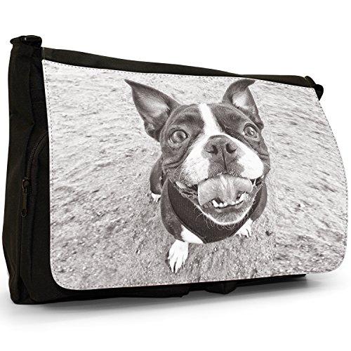 School Shoulder Black Happy Smiling Bag Terrier Boston Canvas Large Laptop Bull Boxwood Messenger X0nqz4Z