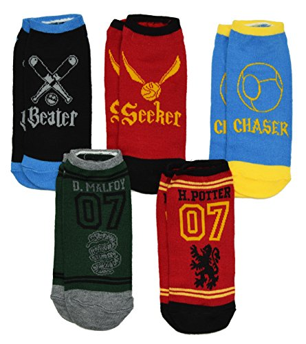 Harry Potter Quidditch 5 Pack No Show Ankle Socks