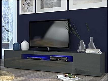 Daiquiri mobile portatv moderno in legno antracite lucido l. 200cm