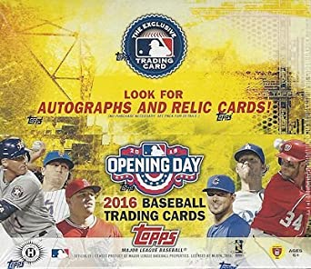 2016 Topps Opening Day Baseball Cards Hobby Box 36 Packs Of 7 Cards Possible Autographs Memorabilia Stickers Or Inserts Release Date