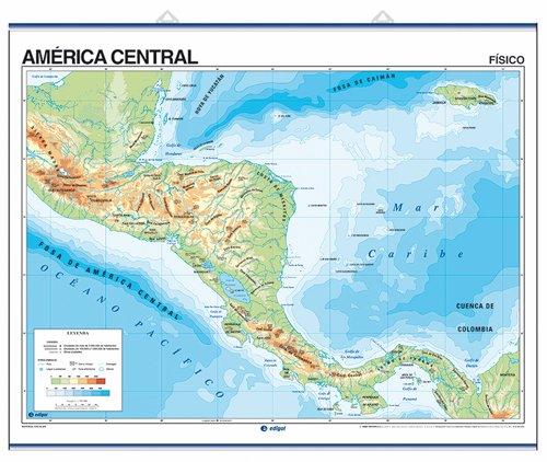 America Central Mapa Fisico S A Edigol Ediciones And Edigol