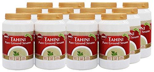 Barons Kosher 100% Pure Ground Sesame Tahini 16-ounce Jars (Pack of 12)
