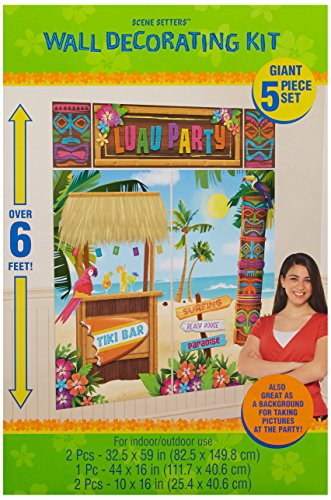 Amscan-Sun-Sational-Summer-Luau-Tropical-Tiki-Scene-Setters-Decoration-5-Piece-Multi-Color-178-x-118