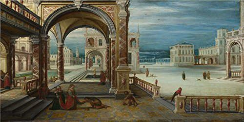 Oil Painting 'Hendrick Van Steenwyck The Younger The Courtyard Of A Renaissance Palace' 18 x 36 inch / 46 x 91 cm , on High Definition HD canvas prints, gifts for Bed Room, Garage And Laundry decor