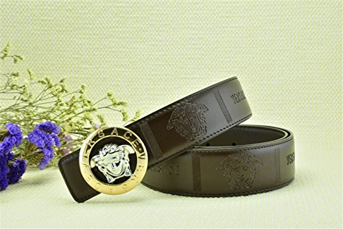 Versace Embossed Buckle Coffee Leather