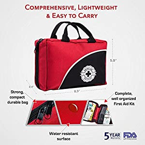 First Aid Kit - 150 Piece - for Car, Travel, Camping, Home, Office, Sports, Survival   Complete Emergency Bag fully stocked with high quality medical supplies