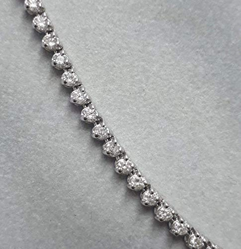 4.50 CTW F-G/ SI1-SI2, 3-Prong Diamond Graduated Tennis Necklace in 14k White Gold ()