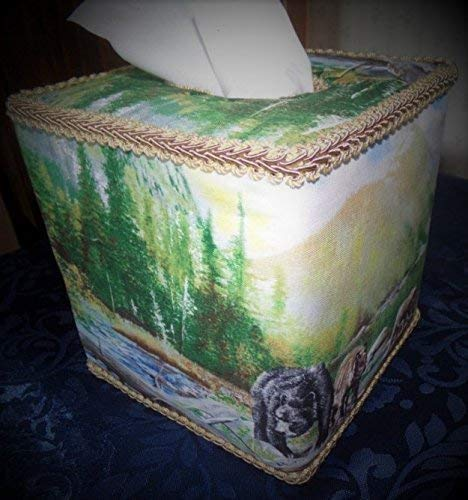 Bears Wilderness Woods Tissue Box Cover with Mountain Streams