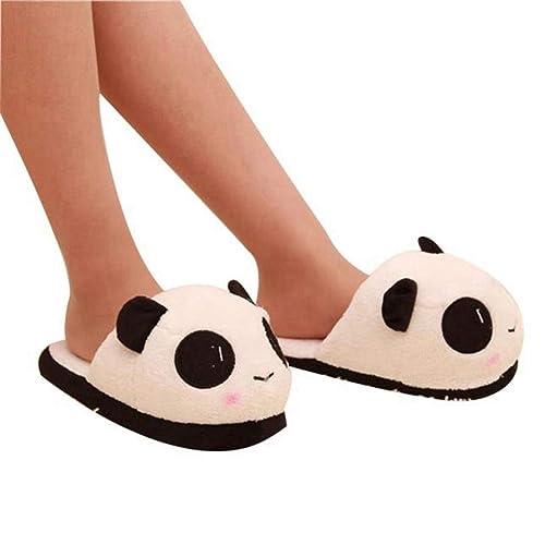 Las Mujeres Zapatillas de Invierno Lindo Ojos de Panda Encantador de Dibujos Animados de Interior de Casa Suave Cálido Felpa Zapatos Antideslizantes: ...