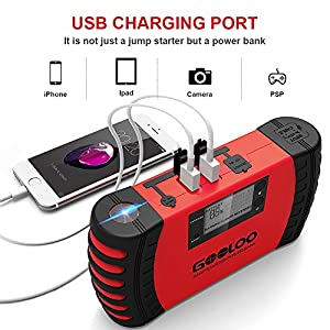 GOOLOO 800A Peak 18000mAh SuperSafe Car Jump Starter (Up to 7.0L Gas or 5.5L Diesel Engine) 12V Portable Power Pack Auto Battery Booster Phone Charger Built-in LED Light and Smart Protection