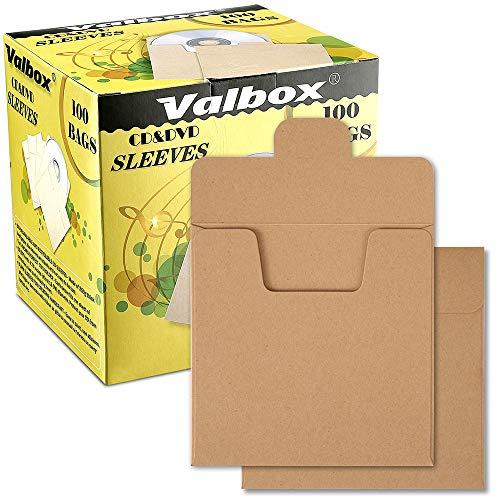 ValBox 100 Packs CD Kraft Paper Sleeves Envelopes 5 x 5 Inches Brown DVD Paper Cardboard Envelopes CD Paper Storage Holder Covers ()