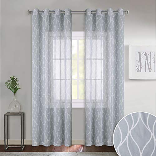 KGORGE Faux Linen Patterned Curtains - Moroccan Ogee Wave Grommet Top Translucent Printed Sheer Curtain Sets for Patio Glass Door, Sold by 2 Pieces, 52
