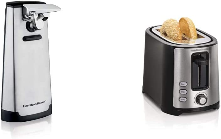 Hamilton Beach Steel Electric Automatic Can Opener & Beach 2 Slice Extra Wide Slot Toaster with Shade Selector, Toast Boost, Auto Shutoff, Black (22633)