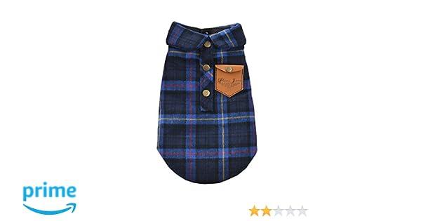 zoonpark/® Perro Ropa Inglaterra Plaid doble capa franela camisa oto/ño invierno perro ropa para peque/ño o mediano Perro Mascota Ropa Chihuahua Yorkshire caniche