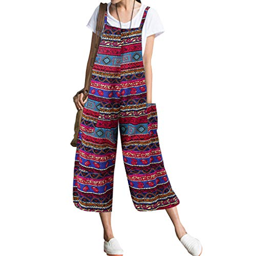 - Women's Pockets Print Cotton and Linen Sleeveless Loose Long Rompers Jumpsuit&ANJUNIE(Red,M)