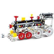 DIY Metal Model Building Kit Build and Play Toy Set STEM Learning Sets Erector Sets for 5+ Year Old Kids (Locomotive)