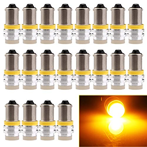 EverBright 20-Pack Amber/Yellow BA9 BA9S 53 57 1895 64111 T4W Aluminum SMD 1W LED Replacement for Car License Plate Light Bulb Side Door Courtesy Door Lamp Interior Map Lights DC12V ()