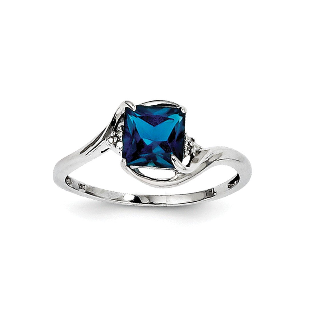 ICE CARATS 925 Sterling Silver Diamond London Blue Topaz Band Ring Size 8.00 Gemstone Fine Jewelry Ideal Gifts For Women Gift Set From Heart