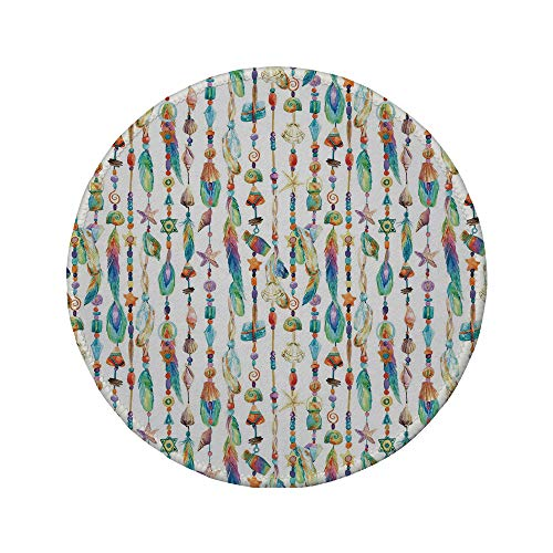 (Non-Slip Rubber Round Mouse Pad,Feather,Watercolor Style Figures with Sea Shells Nautical Boho Style Chains Pendant Pattern,Multicolor,11.8