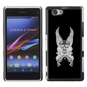 GOODTHINGS Funda Imagen Diseño Carcasa Tapa Trasera Negro Cover Skin Case para Sony Xperia Z1 Compact D5503 - alas angel armas de muerte revólver negro
