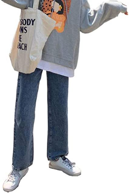 AOZUOレディース デニムパンツ ジーンズ ゆったり 体型カバー ワイドパンツ 秋 冬 裏起毛厚手 ストレートパンツ 通学 デート ロングパンツ 無地 カジュアル ファッション