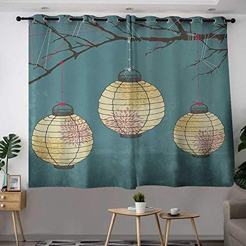 Warm Family Yellow Curtains Lantern,Three Paper Lanterns Hanging on Branches Lighting Fixture Source Lamp Boho,Teal Light Yellow 72''x108'',Bedroom Blackout Curtains by Warm Family (Image #1)