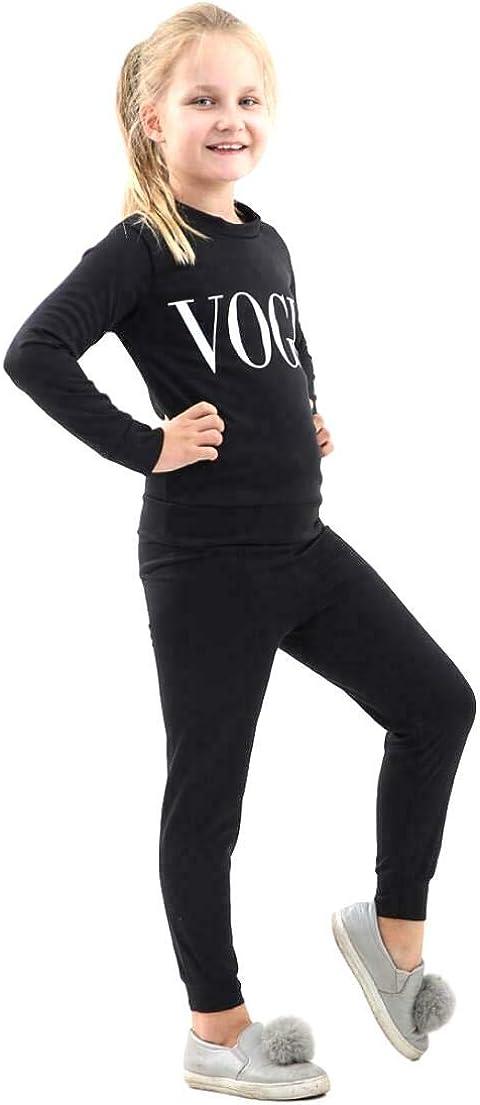 Childrens Girls Vogue Print Top Bottoms Tracksuit Lounge Wear 2 Pcs Co-Ord Set