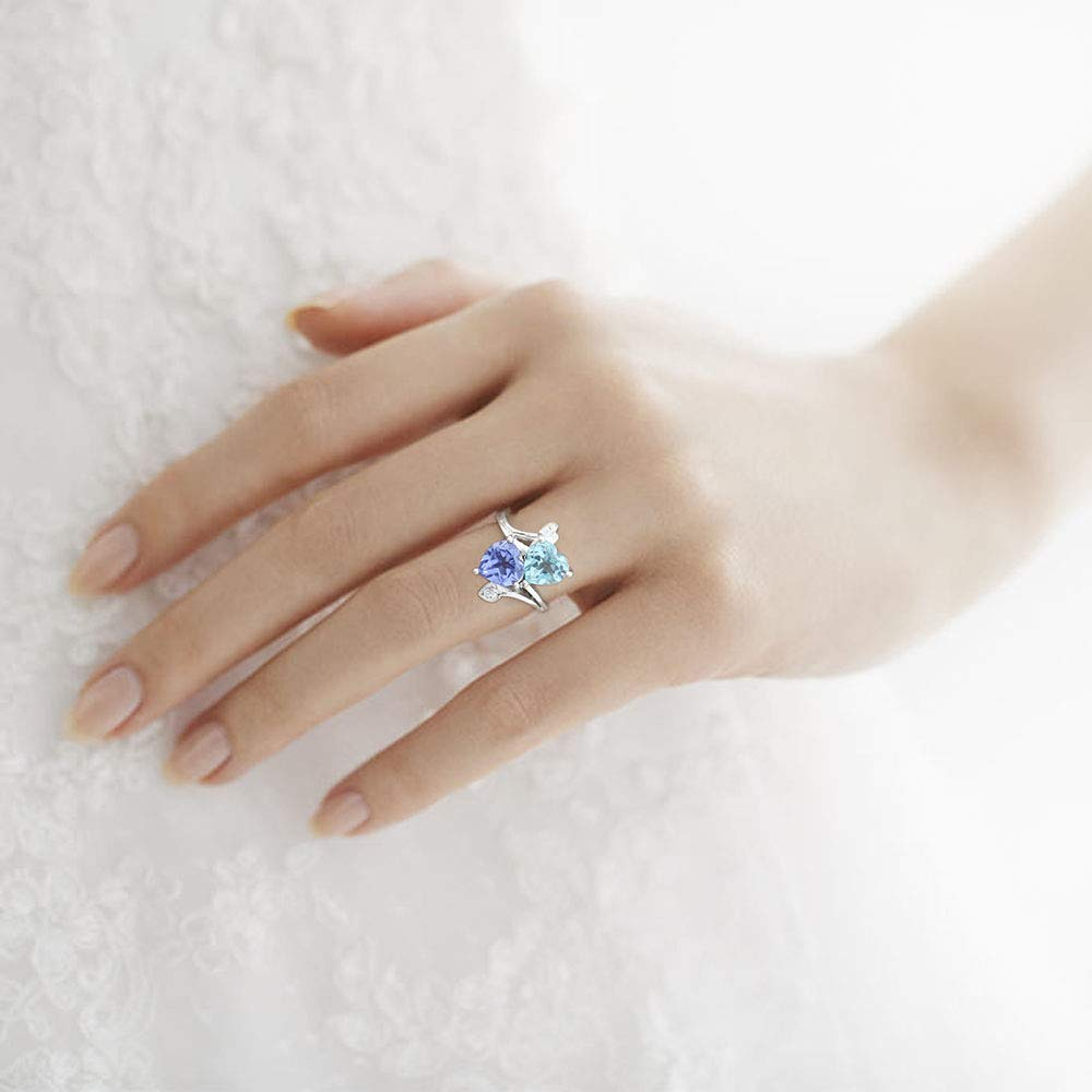 Tanzanite and Cz 925 Sterling Silver Ring Jewelry Size 6-10 DGR1071/_G Desiregem Aquamarine Lab Created 8x8 MM Heart Shape