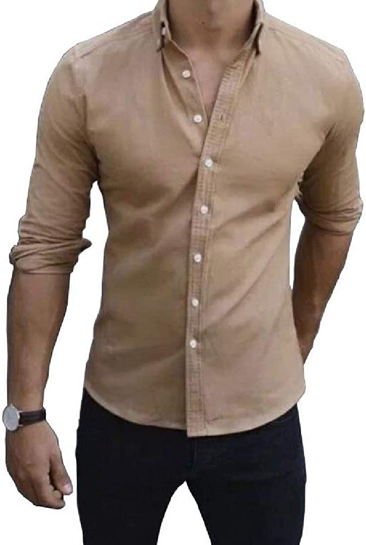 VITryst-Men Buttoned Relaxed Fit Comfort Summer Tailored Fit Woven Shirt