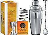 Premium Cocktail Shaker Bar Set - Martini Kit - with Double Measuring Jigger and Mixing Spoon plus Drink Recipes Booklet - 24 oz Bartender Stainless Steel Boston Tin Built-in Strainer Tool