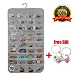 XeaGiasy Hanging Jewelry Organizer For Women, Accessories Organizer Closet Wall Jewelry Holder With 80 Pockets, 2 Sides (Grey)