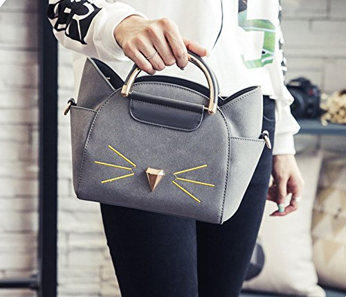 Qzunique Gray Handle Cross Bag Body Cute Women's Cat Top Fashion Shoulder Summer rqCrxw7P