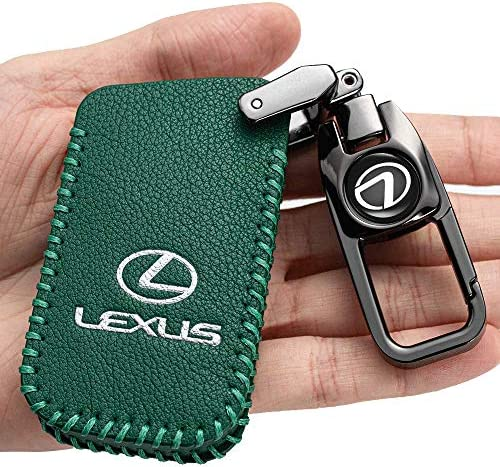 Car Key Case - Genuine Leather Protector Keychain suit for Lexus ES GS IS LX NX RX RC RC-F Smart Keyless Fob Remote Key key fob cover key holder 4 button