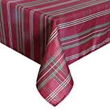 Eforcurtain Luxury Metallic Plaid Tablecloth Fabric Jacquard Table Cover Oblong for Christmas Holiday, Burgundy, 60 Inch By 120 Inch