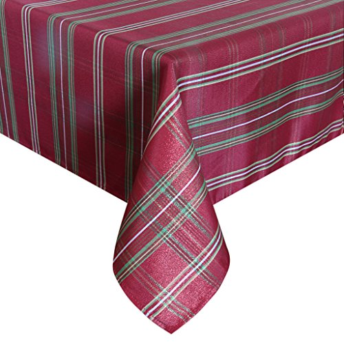 [Eforcurtain Luxury Metallic Plaid Tablecloth Fabric Jacquard Table Cover Oblong for Christmas Holiday, Burgundy, 60 Inch By 120 Inch] (Jacquard Tablecloth Fabric)