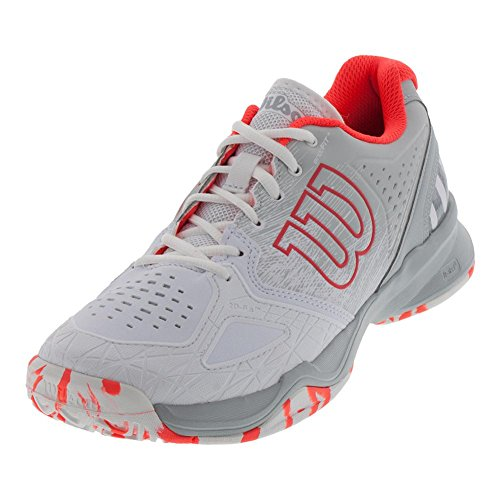 Wilson Women's Kaos Composite White/Pearl Blue/Fiery Coral 8 B US by Wilson