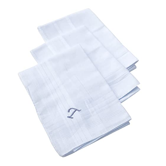 "OWM Handkerchief Pack of 3 Cotton Embroidered Initial Monogram Handkerchief  Men ("" ..."