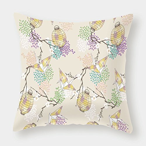 iPrint Cotton Linen Throw Pillow Cushion Cover,Lantern,Colorful Origami Cranes Paper Lanterns with Branches and Flowers Culture Decorative,Lilac Pink Beige Yellow,Decorative Square Accent Pillow Case -
