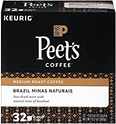 Peet's Coffee K-Cup Pack Brazil Minas Naturais Medium Roast Coffee, 32 Count Single Cup Coffee Pods, Smooth Bodied Medium Roast Blend of Brazil Coffees, Notes of Hazelnut; for All Keurig K-Cup Brewers