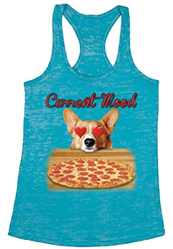 Awkward Styles Women's Current Mood Burnout Racerback Tank Tops Funny Dog Pizza Lover Blue M