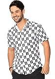 INGEAR Men's Button Down Shirt Summer Beach Short Sleeve Casual Tropical Print Hawaiian Shirt (X-Large, White Black Sandals)