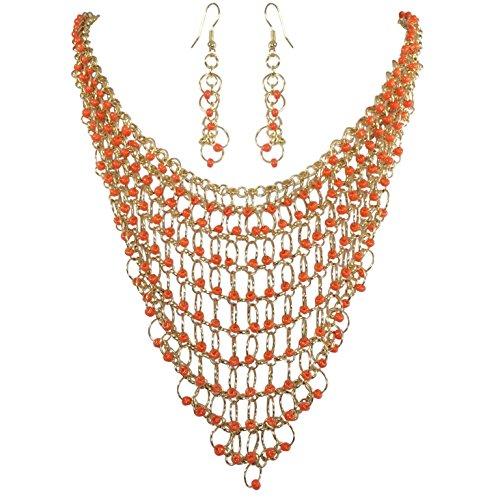(Cascading Beads on Rings Gold Tone Bib Statement Necklace & Dangle Earrings Set (Orange))