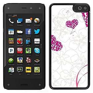 Smartphone Duro Carcasa PC para Amazon Fire/funda TECELL tienda/amor rosa flores y corazón